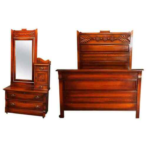 Antique Victorian Three-Piece Eastlake Chip Carved Oak Bedroom Suite, circa 1890