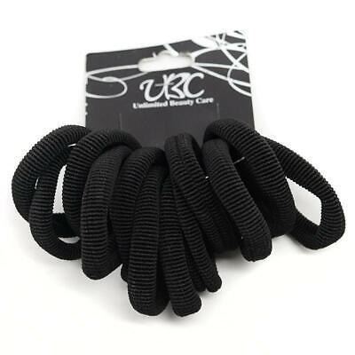 Cotton Stretchy Hair Ties - Black (12 Pcs)