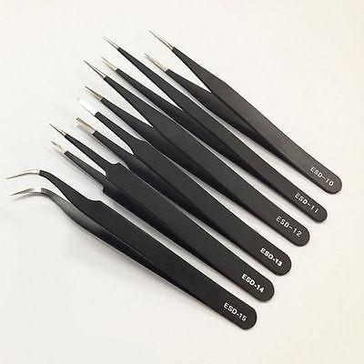 6pcs Esd Safe Stainless Steel Antistatic Tweezers Maintenance Tool Set