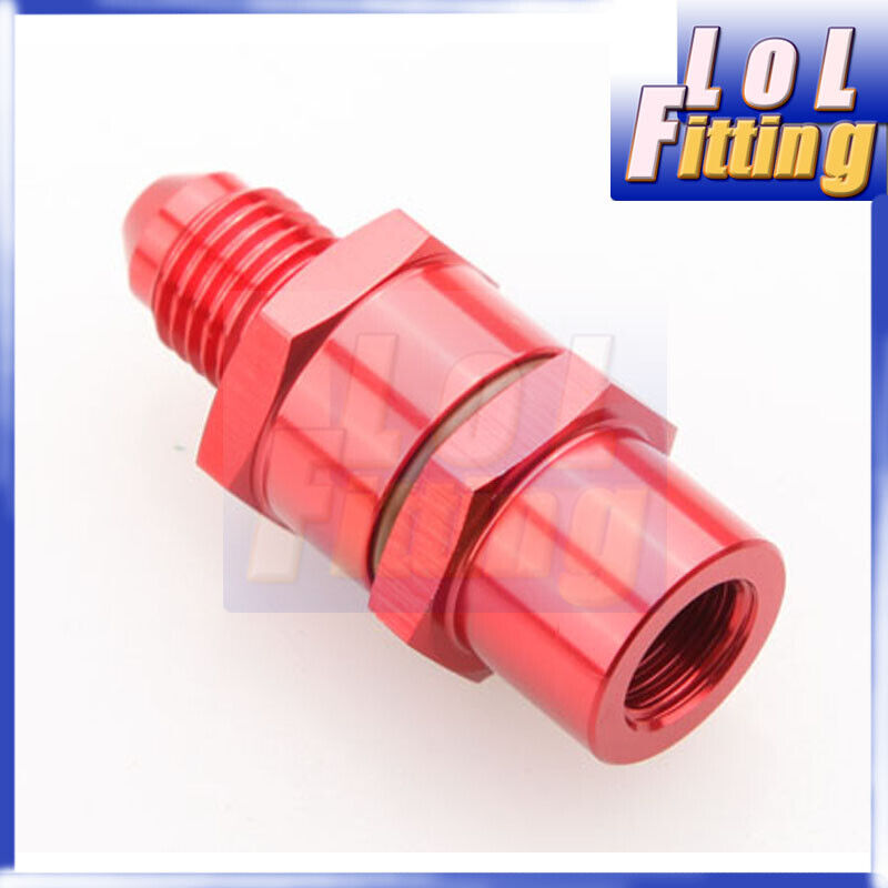 4AN Male To 4AN Female High Flow Billet Turbo Oil Feed Line Filter 30 Micron Red