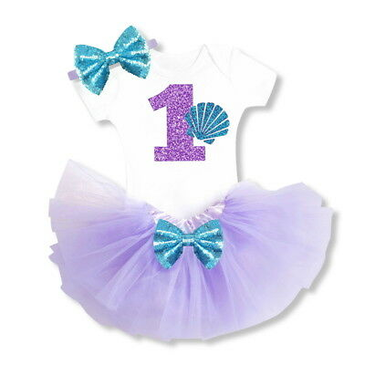 Little Mermaid Baby Girl 1st Birthday Outfits Party Tutu Headband Purple Sets](Little Mermaid 1st Birthday Party)