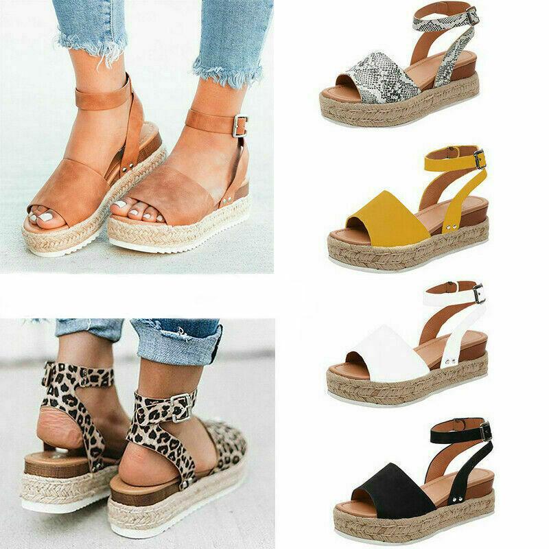 7d453f7b981 Women's Ankle Strap Flatform Wedges Shoes Espadrilles Platform Sandals