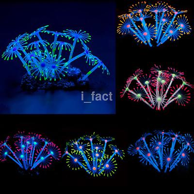 Nice Silicone Aquarium Fish Tank Decor Glowing Effect Coral Plant Ornament US