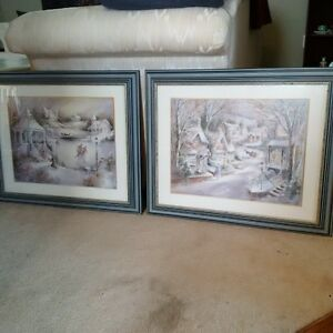 Two gorgeous winter scene prints framed and under glass!
