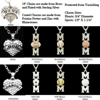 MOTHER MOM GRANDMA NANA JEWELRY RHINESTONE NECKLACE HEART SPORT BASEBALL SOCCER