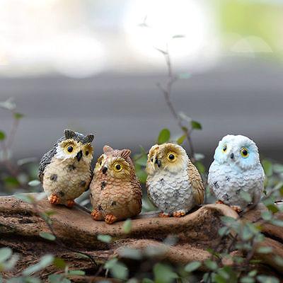 4X Garden Ornament Miniature Owl Resin Figurine Craft Pots Garden Home - Miniature Owl
