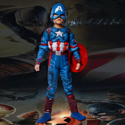 Captain America Baby Halloween Costume (Kids Captain America Costume Avengers Child Cosplay Super Hero Halloween Boys)