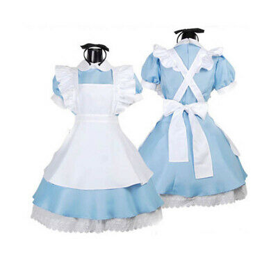 Blue Halloween Costume (Alice in Wonderland Maid Lolita Blue Dress Costume For Halloween Cosplay)