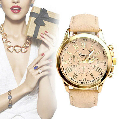 Fashion  Stainless Steel Women Leather Band Quartz Analog Wrist Watch Hot