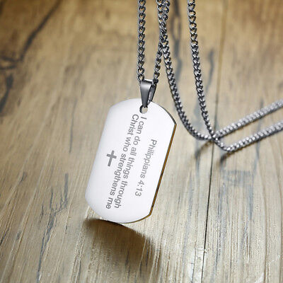 Silver Men Necklace Pendant Dog Tag Strength Bible Verse Philippians 4:13 Prayer