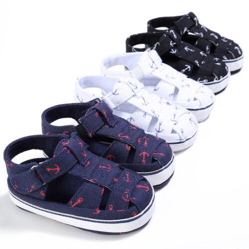 US Baby Kids Girl Boy Soft Sole Crib Sandals Toddler Newborn
