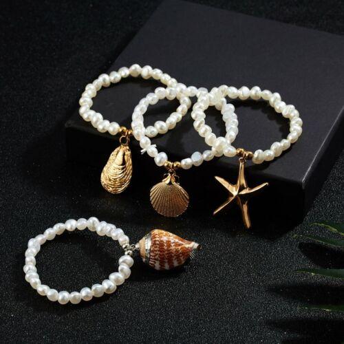 Fashion Pearl Shell Girls Bracelets Elastic Bangle Boho Jewe