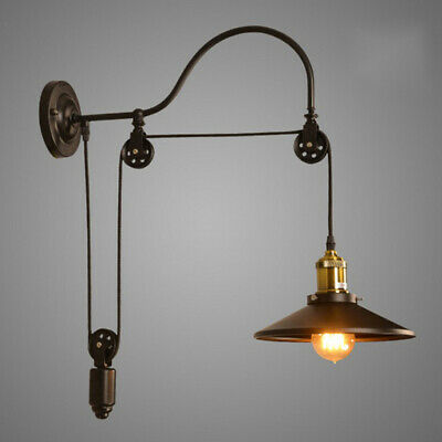 Industrial Wall Mounted Light Sconce Retro Gooseneck Lamp Barn Pulley Fixture