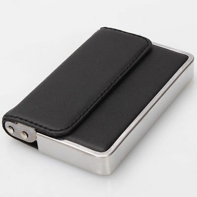 Mens Business Card Case Holder Stainless Steel and Artificial Leather Wallet New on Rummage