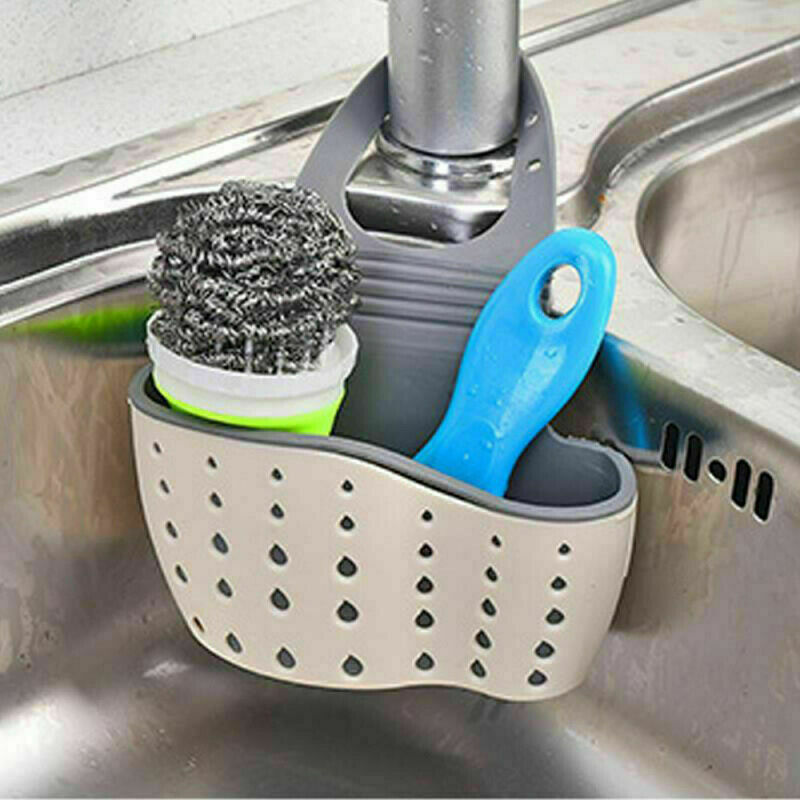 Sink Caddy Kitchen Silicone Soap Sponge Holder Adjustable Strap Dish Drying