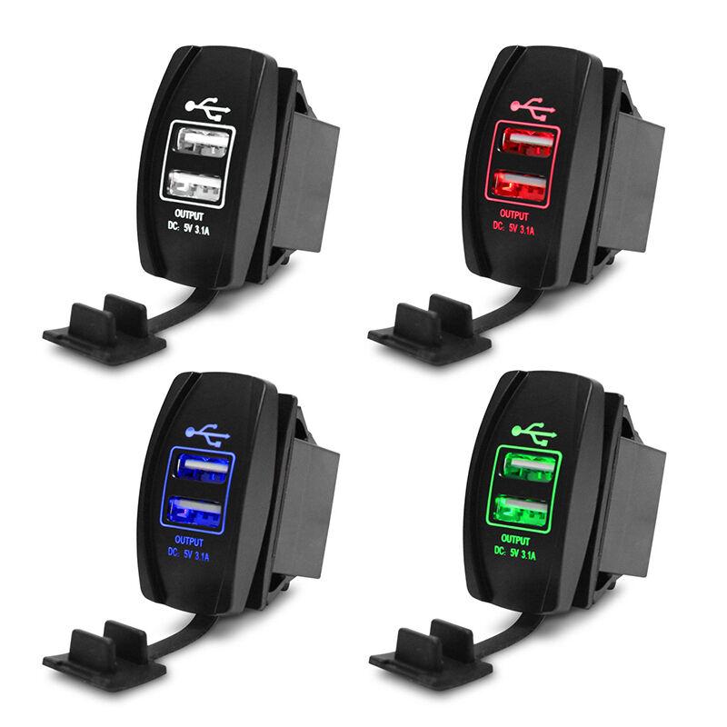 Dual USB Auto interruttore alimentazione Presa adattatore per caricabatterie NEU