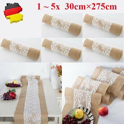 leinen Jute Spitze Tischband Hochzeit Tischdekor 30cm breit (Spitze Läufer)