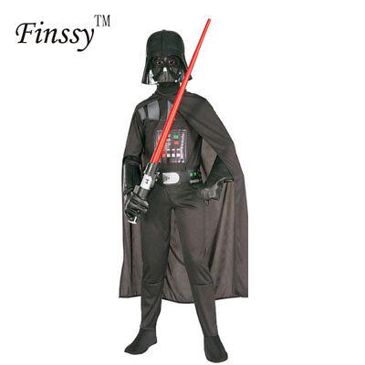 Star Wars Darth Vader Costume Kids Jumpsuit Black Suit Cape Mask Boys Cosplay