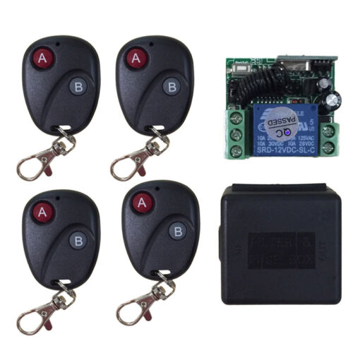 Relay DC12V 7A 1CH Wireless 4 Remote Control Switch Transmitter Receiver System