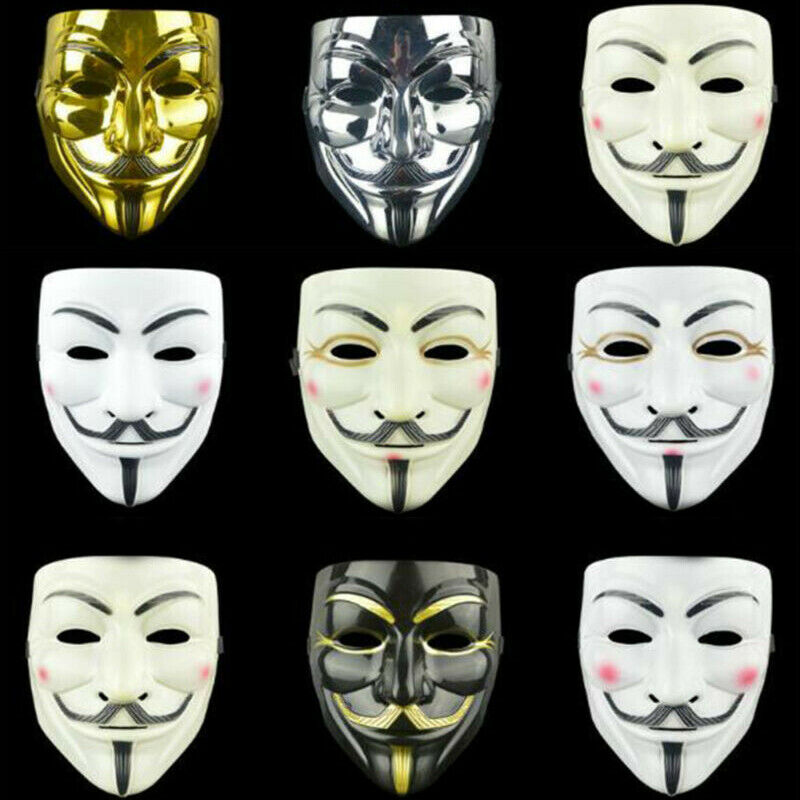 Details About Anonymous Hacker V Vendetta Game Master Face Mask Adults Christmas Party Cosplay