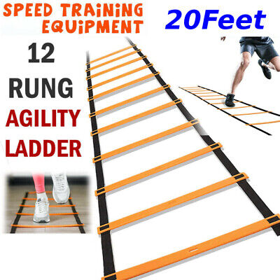 12 Rung Football Speed Agility Training Ladder Flat Rung with Carrying Bag cc