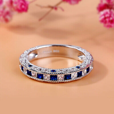 - 2Ct Princess-Cut Blue Sapphire Vintage Wedding Band Ring 18K White Gold Finish