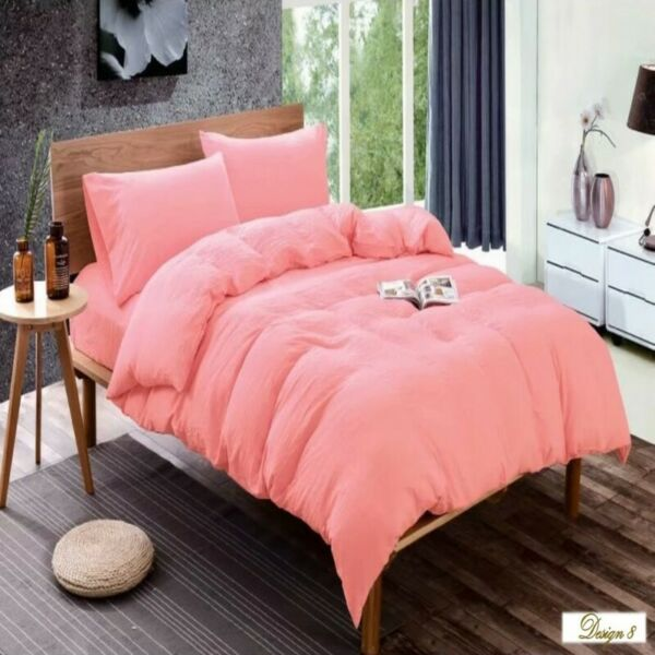 QUEEN BED CORAL Color Fitted BedSheet +2 Pillowcases Set