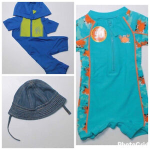 Boys 6 month swimsuits and hat