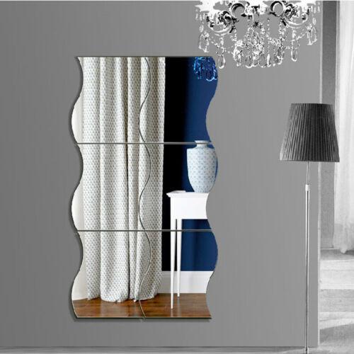 6PCS 3D Mirror Wall Sticker Waves Shape Self-adhesive Home B