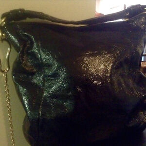 Large black patent leather Coach bag