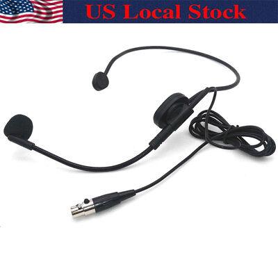 Condenser XLR 4-PIN Head Headworn Headset Microphone For Shure Wireless -