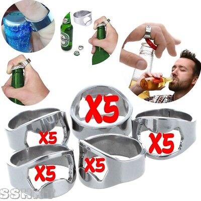 5x Silver Stainless Steel Metal Finger Thumb Keyring Ring Beer Bottle Opener CP