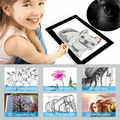A4 A3 LED Light Pad Slim Art Craft Drawing Tracing Home Learning Light Box Pad