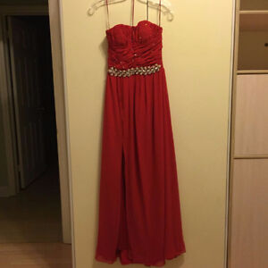 SELLING A CUSTOM MADE EVENING GOWN WITH CHIFFON & CRYSTALS. FITS