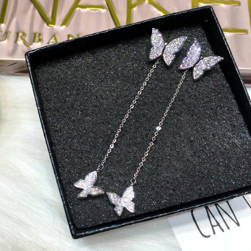 Butterfly Earrings Stud Threader Long Drop Dangle Tassel Cry