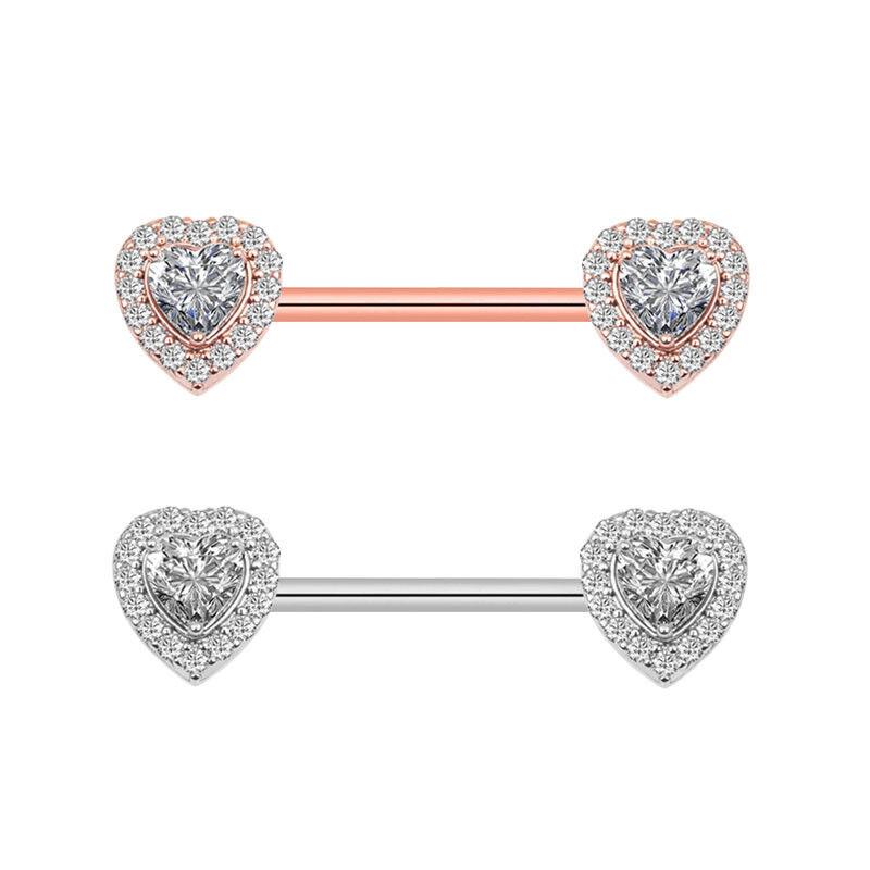 2 Pc Nipple Bar Ring Stainless Steel Cz Heart Nipple Rings Body Piercing Jewelry