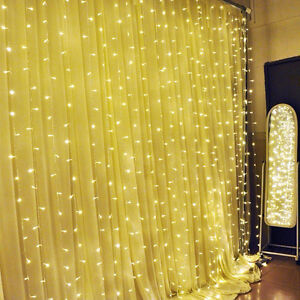 Ucharge 300 LEDs Window Curtain Waterproof Fairy Lights, 9.8-Fee