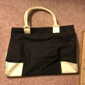 Faux Leather and canvas Bag