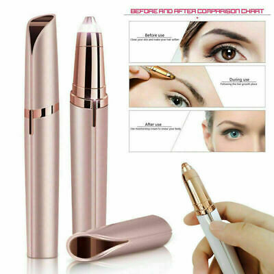 Women's Painless Electric Eyebrow Hair Remover Brows Trimmer Epilator Pink&White
