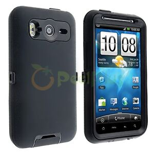 Black Hybrid Rubber Plastic Hard Case Cover for HTC Desire HD Ace Inspire 4G