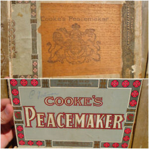 RARE 1915s VINTAGE COOKE'S PEACEMAKER CIGAR BOX - OWEN SOUND, ON