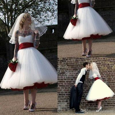 Gothic Tea Length Wedding Dresses With Red Sash - Red Gothic Brautkleid
