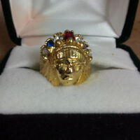 Unique and Rare Chief Head 10K Yellow Gold Man`s Ring W/Stones