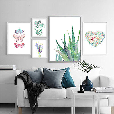 Cactus Butterfly Nordic Style Canvas Poster Wall Art Print Modern Home - Butterfly Canvas
