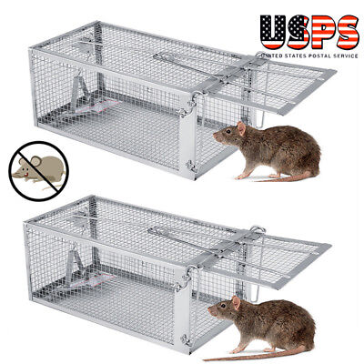 2X Small Live Game Animal Trap 1 Door Chipmunk & Squirrel Trap Cage 27.5x15x12cm