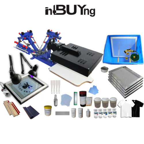 3 Color Screen Printing Machine with Flash Dryer DIY Press Supplies Kit Squeegee