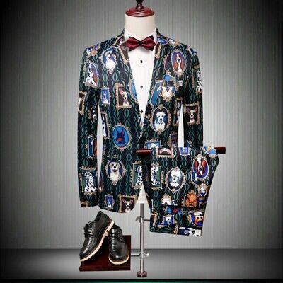Herrenmode Hund gedruckt Anzüge 2 stück Ein Knopf Blazer+Hosen Beiläufig Fashion ()