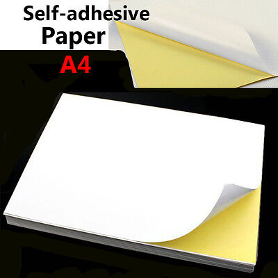 Lot A4 White Glossy Self-adhesive Sticker Sticky Back Label Printing Paper Sheet