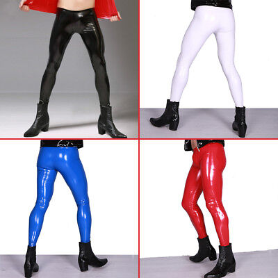 (Men Sexy Shiny Leather Pants PVC Vinyl Wet Look Long Tight Trousers Clubwear)