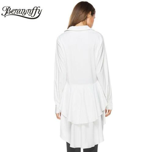 Dames Mode Kleding.Benuynffy Cascading Ruffle Wit Damesmode Topsherfst Dames